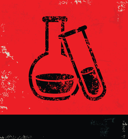 drug discovery: Science design on grunge background red version Illustration