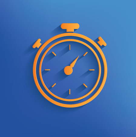 blue face: Clock on blue background clean vector Illustration