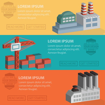 bulding: Factory and industry banner template design