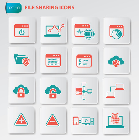 adress book: File sharing icon set on clean buttons Illustration