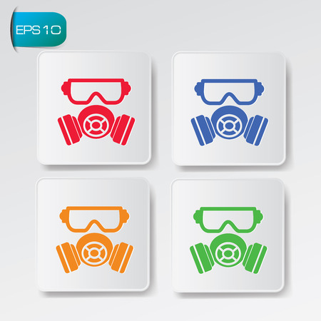 chemical warfare: Mask on button backgroundclean vector Illustration