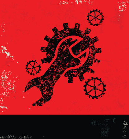 rework: Engineerindustry design on red backgroundgrunge vector Illustration