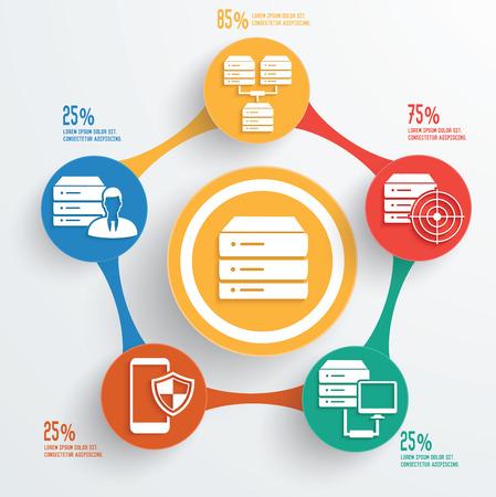 Database server technology info graphic design Vector