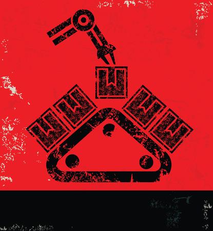 lathe: Logistic design on red backgroundgrunge vector Illustration