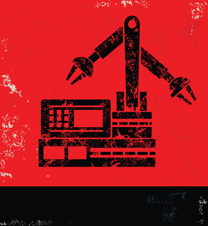lathe: MachineIndustry design on red backgroundgrunge vector Illustration