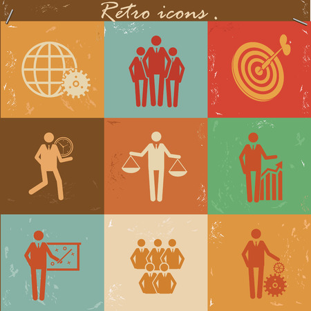 Human resource icon set on retro backgroundclean vector Vector