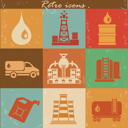 Factory and industry icon set on retro backgroundclean vector Vector