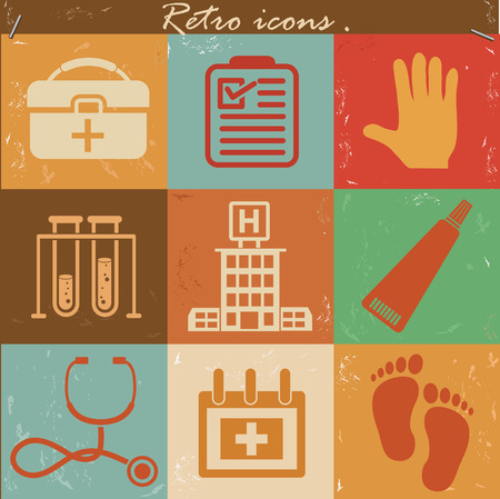 Medical and healthy icon set on retro backgroundclean vector Vector