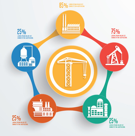 Construction and industry on buttons info graphic designclean vector
