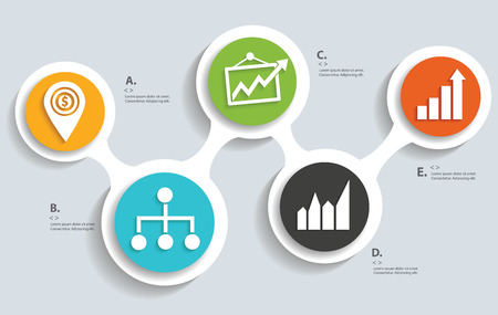 Business strategy on buttons info graphic designclean vector Vector