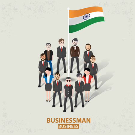 India teamworkbusinessman design on old backgroundclean vector Vector