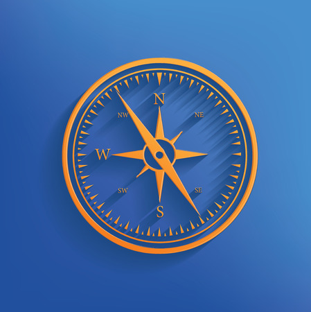 yellow adventure: Compass design on blue backgroundclean vector Illustration