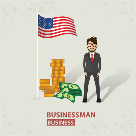 old background: America flag and businessman design on old background, clean vector. Illustration