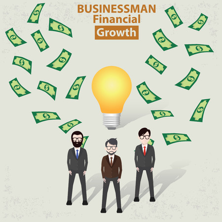 success man: Make moneybusinessman concept design on old backgroundclean vector