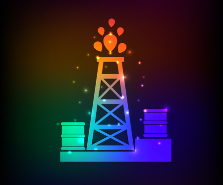 gusher: Oil industry design on rainbow concept backgroundclean vector