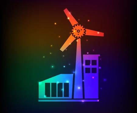 Wind turbine design on rainbow concept backgroundclean vector Vector
