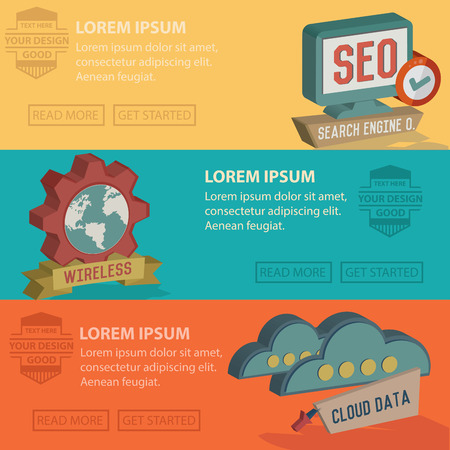 Web SEOBusiness marketing bannerFlat design conceptsConcepts for web banners Vector