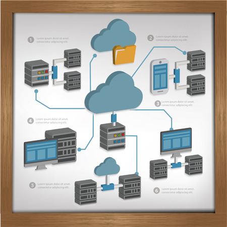 db: Database server design on whiteboard backgroundclean vector Illustration