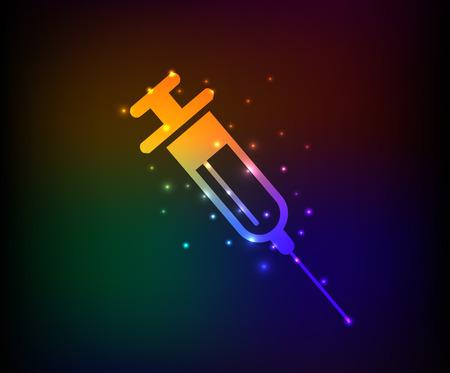 Hypodermic syringe design on dark background Vector