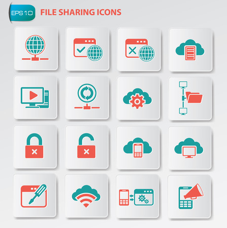 File sharing icon set on clean buttons Illustration