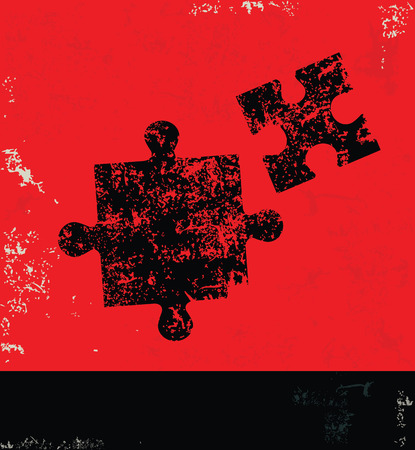contrasts: Puzzle design on grunge background red version