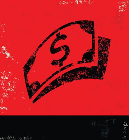 Money design on grunge background red version Vector