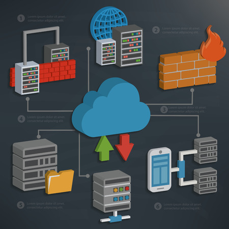 cylinder lock: Database server and cloud computingtechnology on blackboard backgroundclean vector
