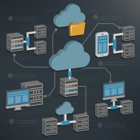 칠판 backgroundclean 벡터에 데이터베이스 서버 및 클라우드 computingtechnology 일러스트