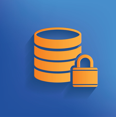 cylinder lock: Database design on blue backgroundclean vector Illustration