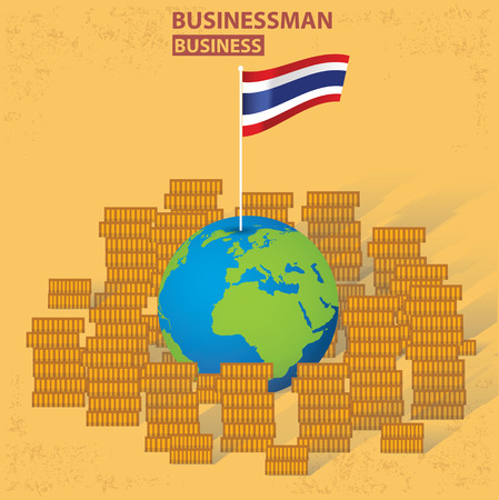 old background: Thailand flagfinance design on old background clean vector.