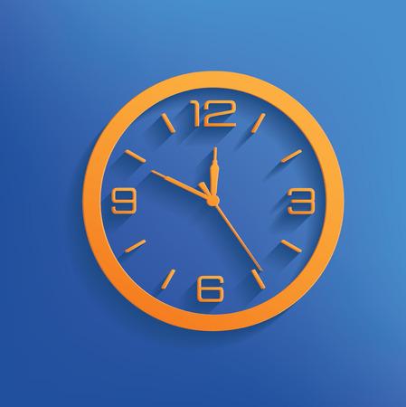 Clock design on blue backgroundclean vector Vector
