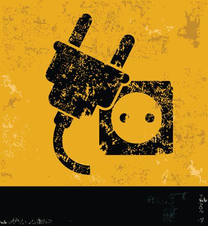 Plug design on yellow backgroundgrunge concept vector Vector