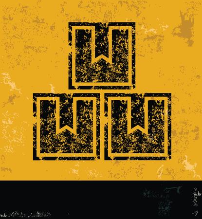 stockpile: Box design on yellow backgroundgrunge vector
