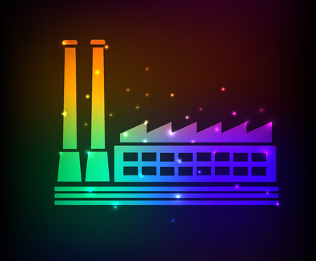 Factory design on rainbow concept backgroundclean vector Vector