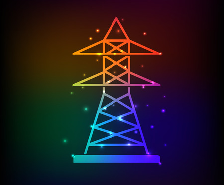 telegraph: Electricity design on rainbow concept backgroundclean vector
