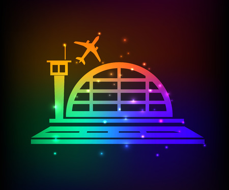 air port: Airplane design on rainbow concept backgroundclean vector