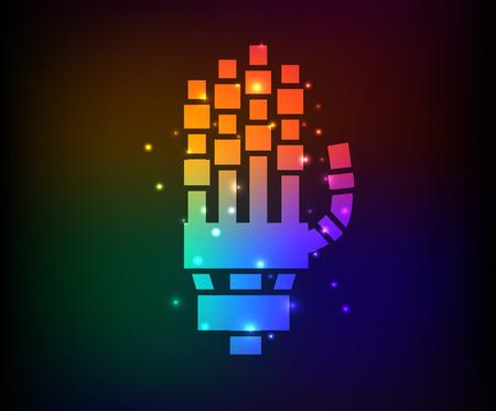 cruet: Handrobot design on rainbow concept backgroundclean vector