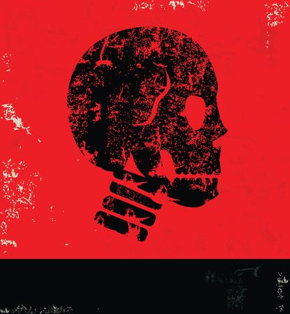vector skull danger sign: Skull design on grunge background red version