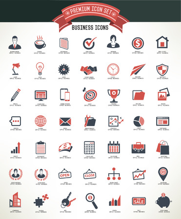 Business and office icon setclean vector Vector