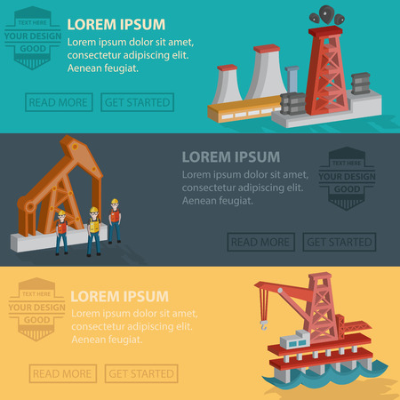 oilwell: Oil energy and industry banner template design