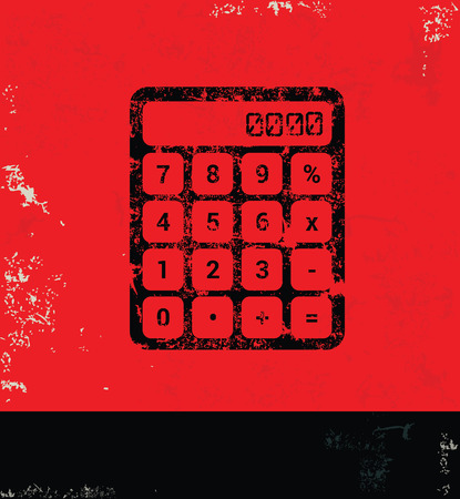 calculate: Calculate design on grunge background red version
