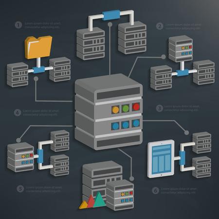 Databaseserver en technologie op het bord backgroundclean vector