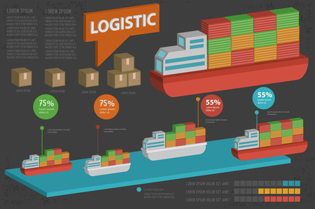 ship parcel: Sea transport and shipping designthree dimensionclean vector