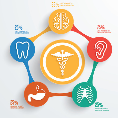 Healthy care and medical info graphic design clean vector Vector