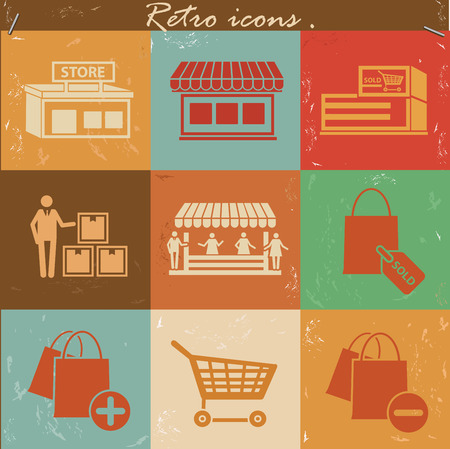 Shopping icon set on retro backgroundclean vector Vector