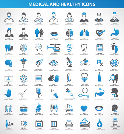 医療、健康的なアイコン セット、ブルー バージョン、きれいなベクトル