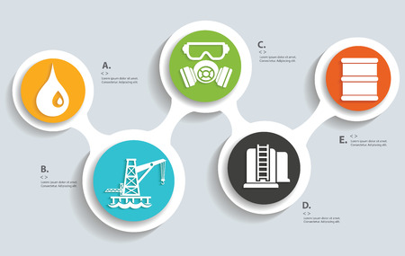 Oil and industry on buttons info graphic designclean vector Vector