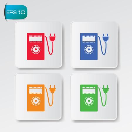electric meter: diseño de medidor de electricidad en los botones de fondo Vectores