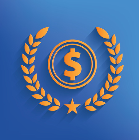 Dollar badge on blue background Vector