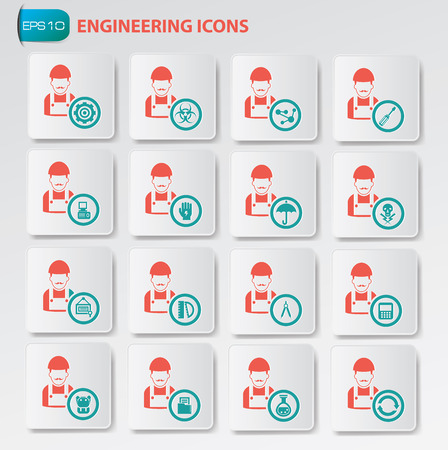 engineering icon: Engineering icon set on clean buttons